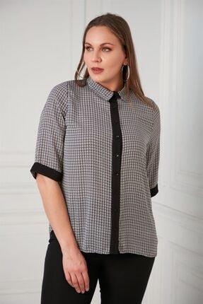 RMG Kadın Kazayağı Desenli Büyük Beden Siyah Gömlek