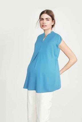 Gaiamom Mavi Bambu Hamile Bluzu