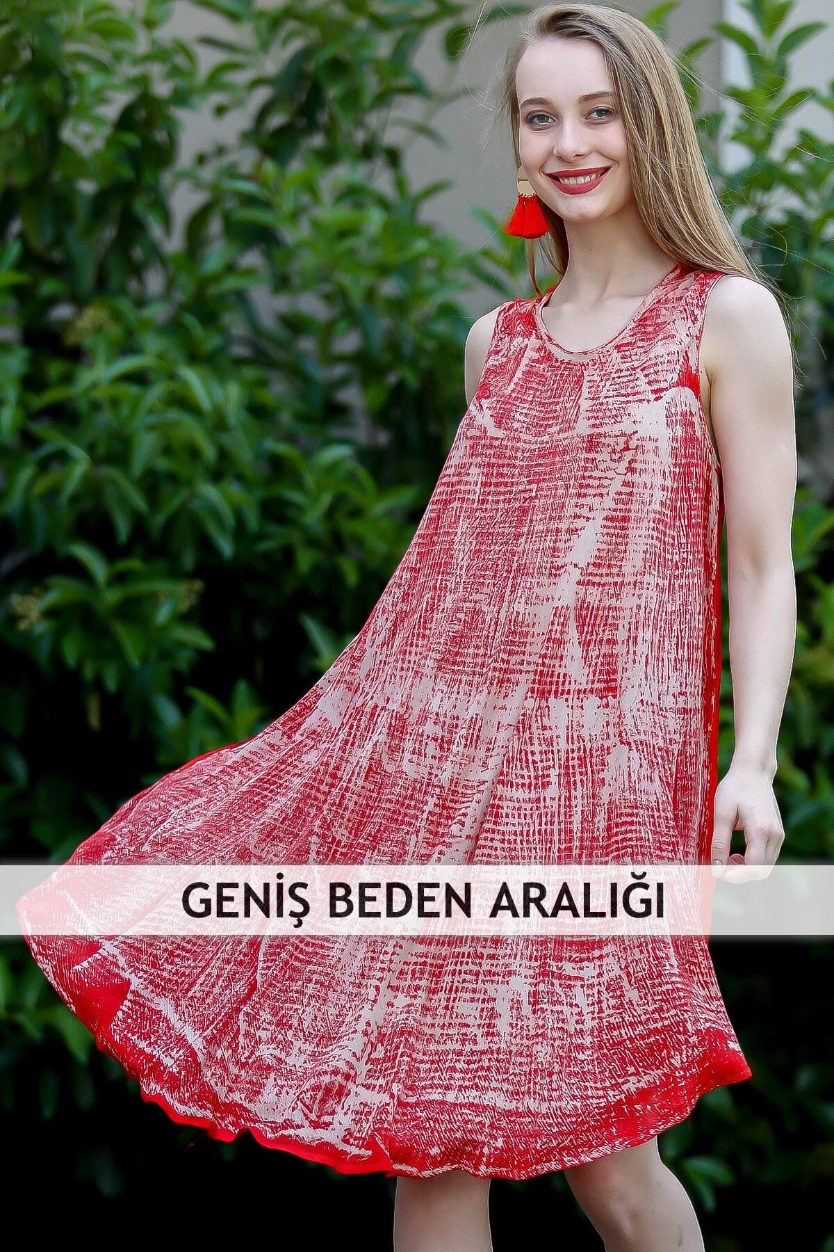 Chiccy Kadın Kirmizi Bohem Batik Desenli Askılı Kloş Elbise M10160000El96722
