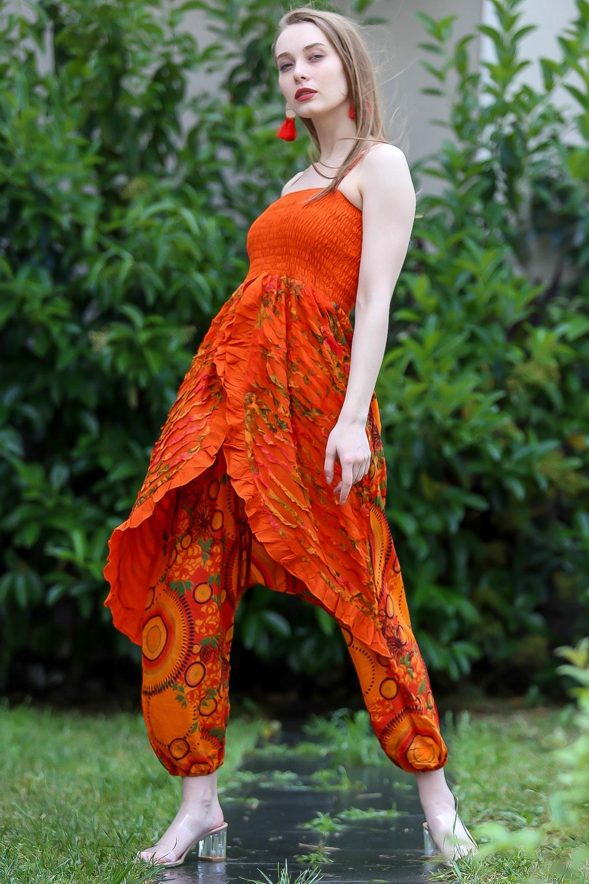Chiccy Kadın Turuncu Bohem Özel Tasarım Gipe Detaylı Askılı Kapaklı Şalvar Tulum M10160000El96707
