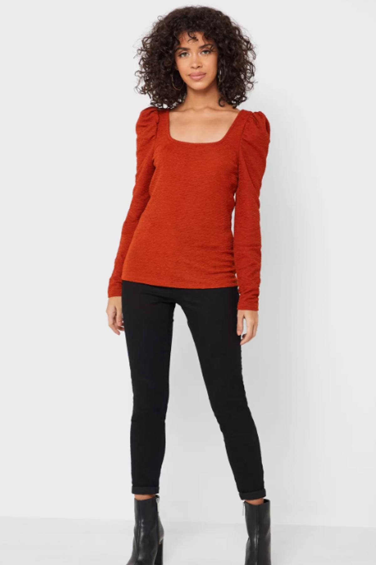 Vero Moda Kadın Taçın Kare Yaka Omuz Detaylı Bluz 10230992 VMALPHA 1