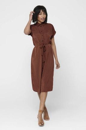 Only Kadın Tarçın Beli Kuşaklı Kısa Kollu Gömlek Elbise Elbise 15191953 ONLHANNOVER