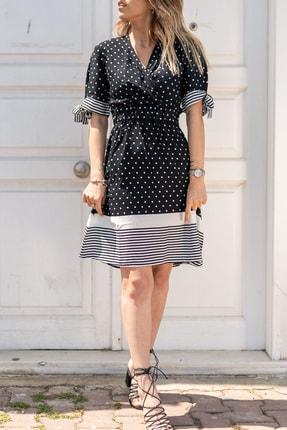 XHAN Kadın Siyah Puantiyeli Kruvaze Elbise 0yxk6-43470-02