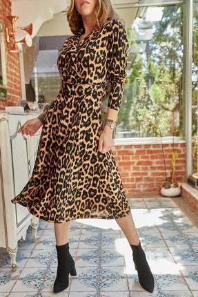 XHAN Kadın Kiremit Çift Cepli Kemerli Leopar Desenli Elbise 9yxk6-41805-16
