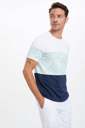 DeFacto Erkek Beyaz Çiçek Baskılı Regular Fit T-Shirt N7000AZ.20SM.WT16