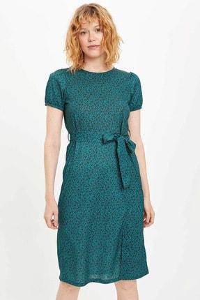 DeFacto Kadın Yeşil Yırtmaç Detaylı Desenli Örme Elbise R1034AZ.20SP.GN195