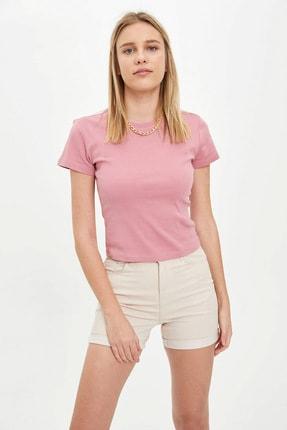 DeFacto Kadın Pembe Basic Regular Fit Kısa Kollu T-Shirt R5585AZ.20SM.PN592
