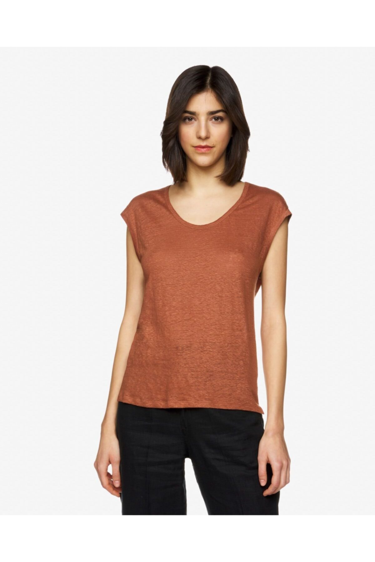United Colors of Benetton Kadın Kahverengi Basic Keten T-shirt 1