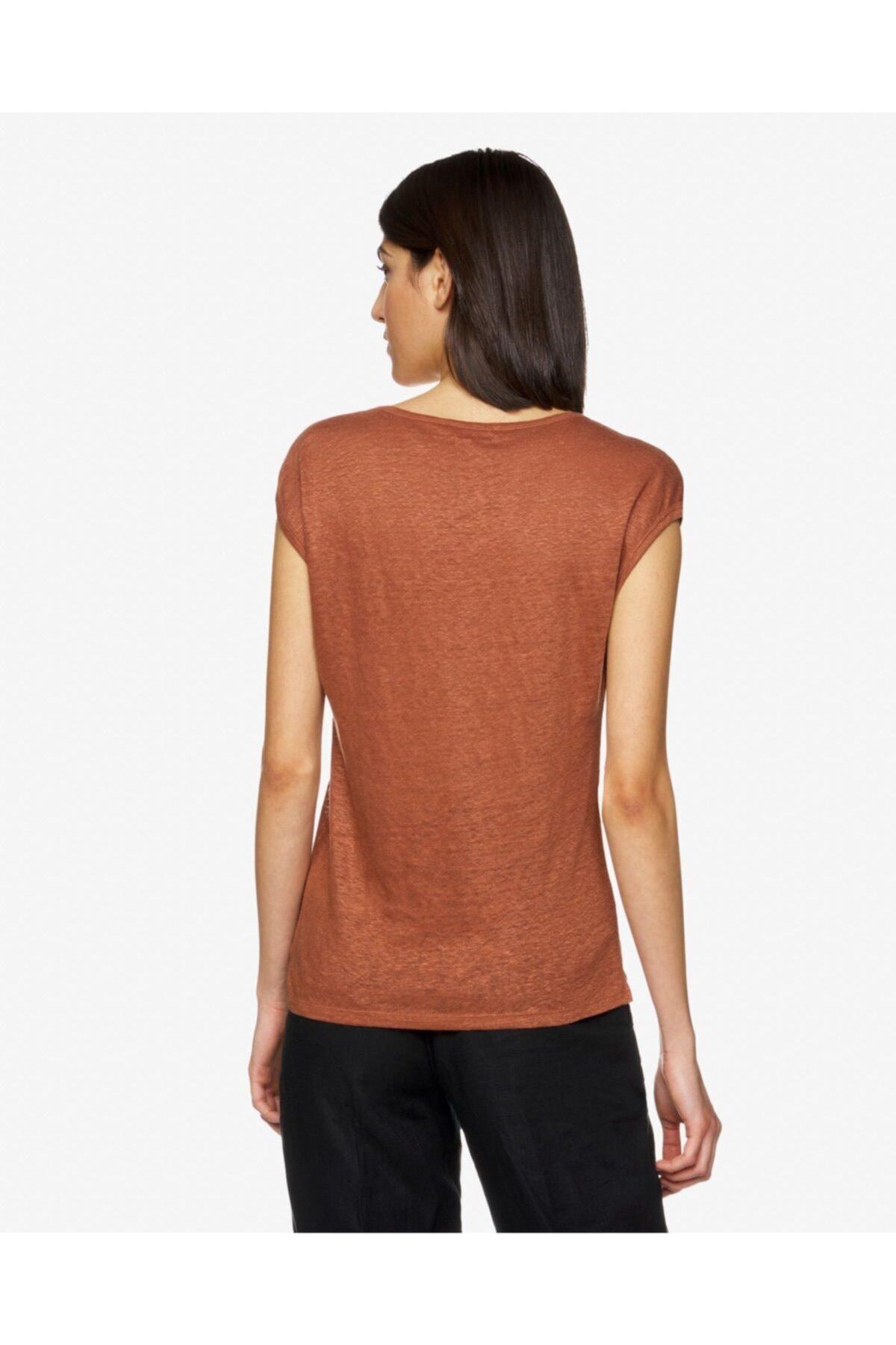 United Colors of Benetton Kadın Kahverengi Basic Keten T-shirt 2
