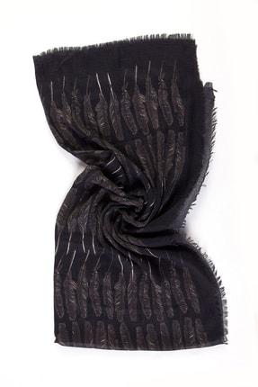 Akel Kuş Tüyü Desenli Şal - Siyah