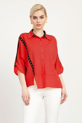 Moda İlgi Modailgi Erkek Yaka Şerit Deyay Bluz Mercan