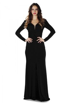 Pierre Cardin Kadın Siyah İthal Krep Uzun Kollu Abiye Elbise PC55280