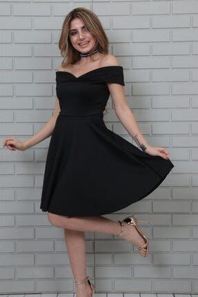 lovebox Esnek Scuba Kumaş Öpücük Yaka Siyah Abiye Elbise