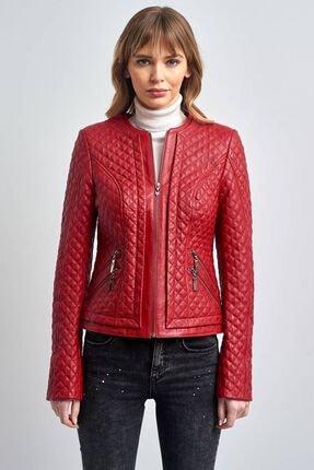 Pierre Cardin Kadın Kırmızı Kapitone Kısa Gerçek Deri Ceket