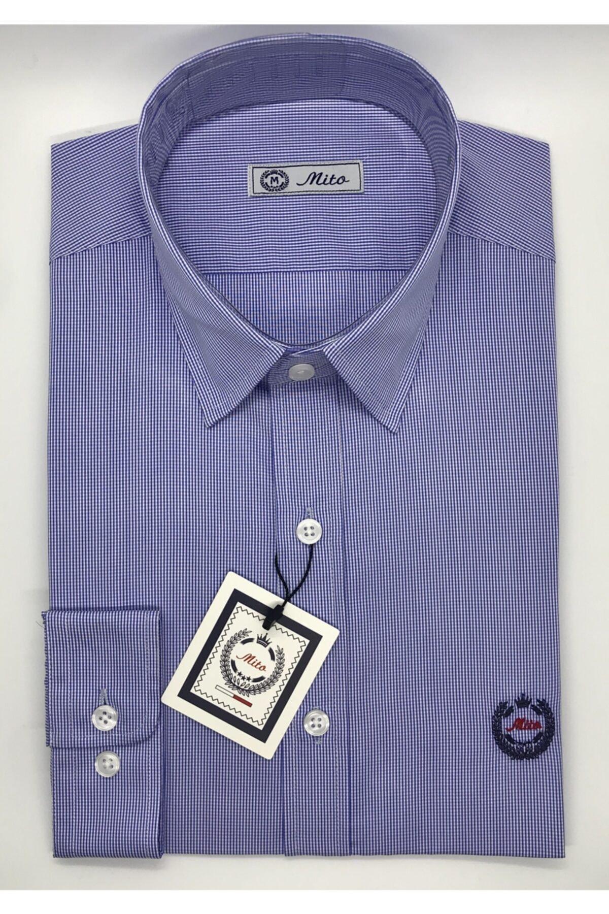 Mito Erkek Mavi Kareli Klasik Slim Fit Gömlek 1