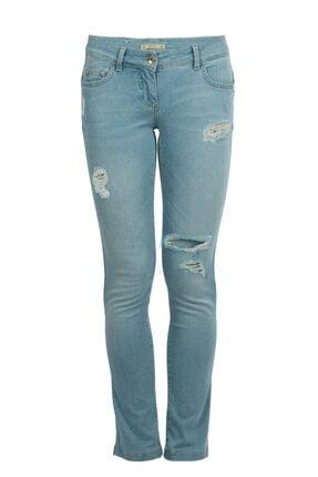 Patrizia Pepe Kadın Buz Mavisi Yırtık Jean