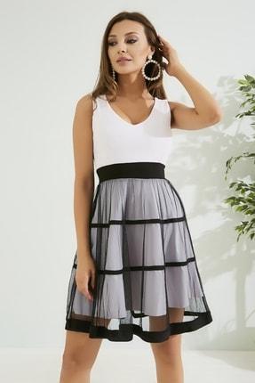 Sateen Kadın Beyaz Eteği Tül Elbise