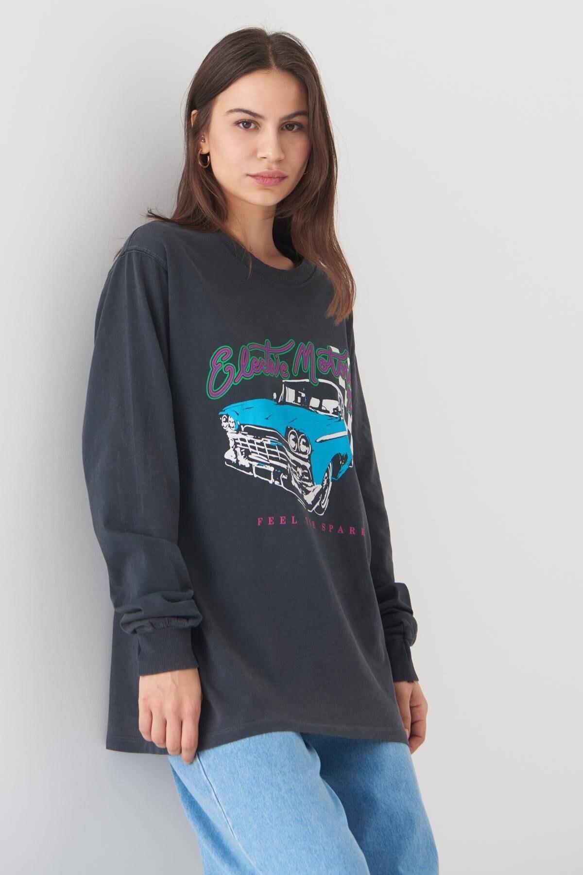 Addax Kadın Füme Baskılı Sweatshirt 2