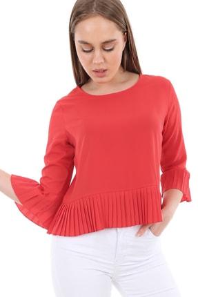 Bigdart Kadın Kırmızı Kol ve Etek Ucu Piliseli Bluz 0297
