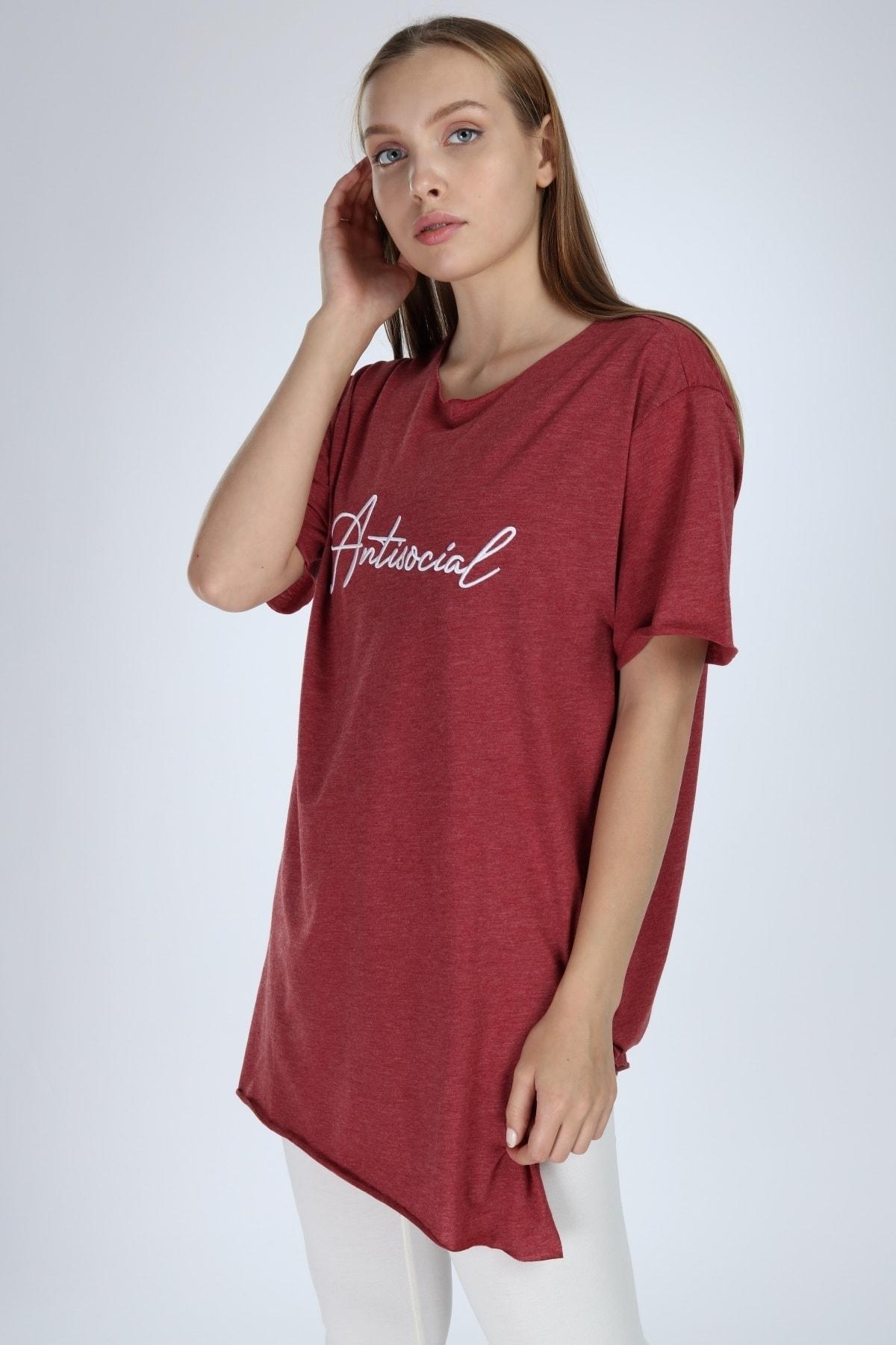 Millionaire Kadın Bordo Yırtmaçlı Antisocial Nakışlı Oversize T-shirt 2