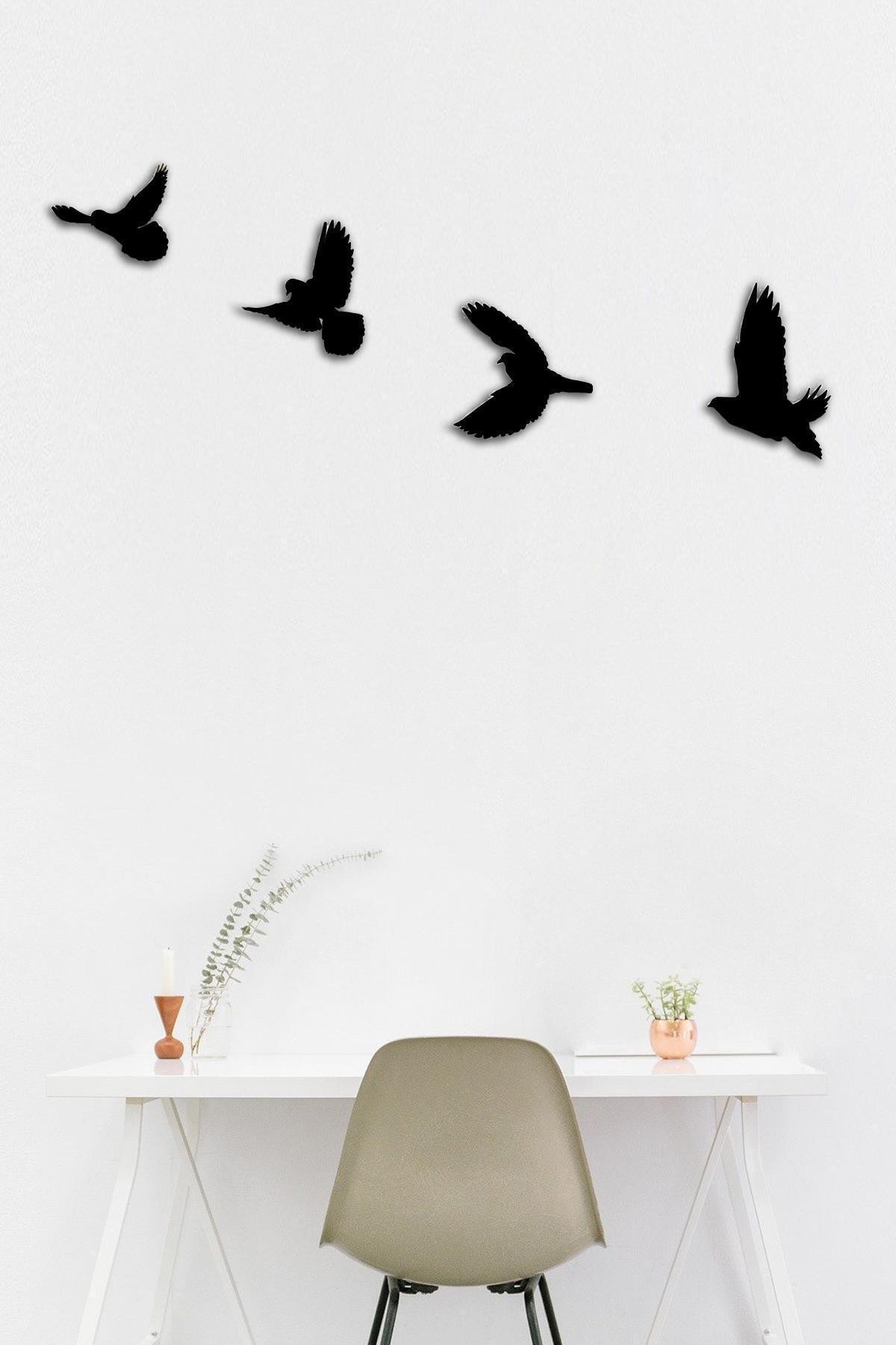 Dekolia Ahşap Dörtlü Kuş Duvar Süsü Lazer Kesim Duvar Dekoru Art1233 1
