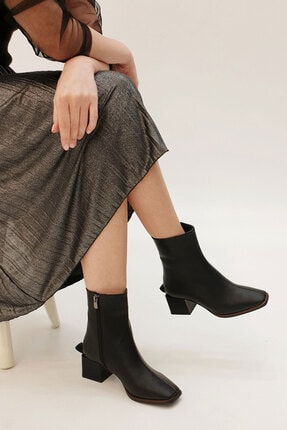 Marjin Kadın Siyah Noyes Günlük Topuklu Bot