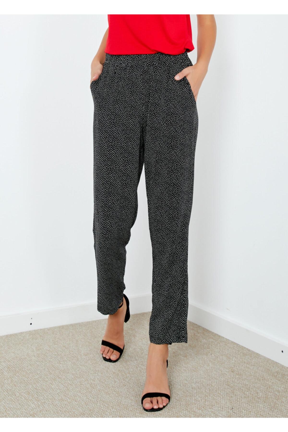 Adze Kadın Siyah Cepli Puantiyeli Pantolon Karışık 1
