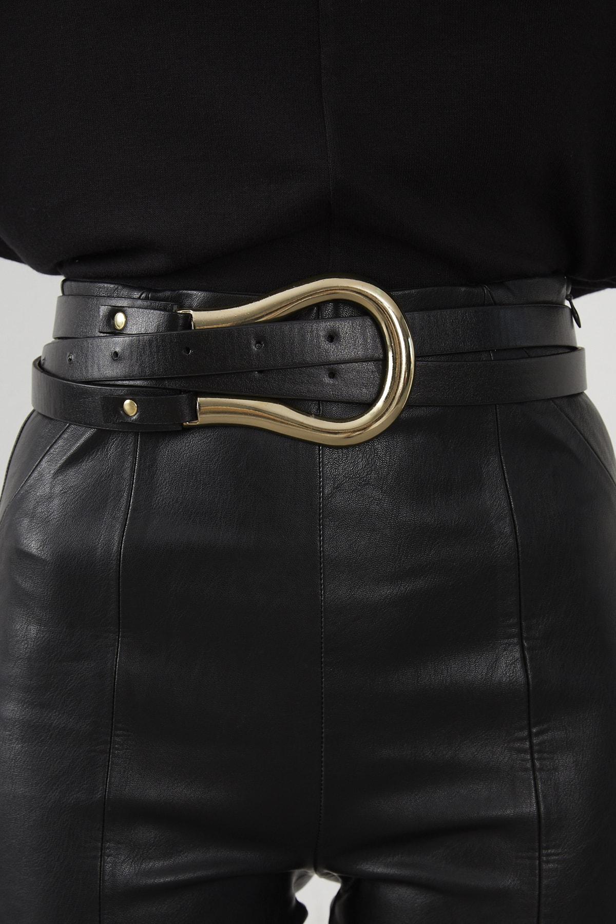 Cool & Sexy Kadın Siyah Gold Tokalı Kemer BE454 1