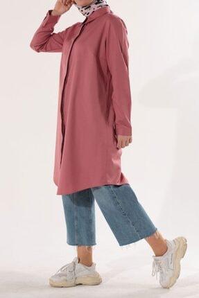 ALLDAY Kadın Pembe Gizli Patlı Gömlek Tunik