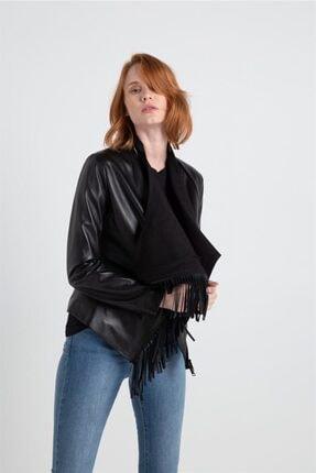 rue. Kadın Siyah Püskül Detaylı Ceket