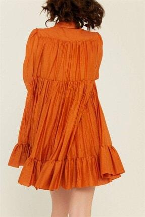 rue. Kadın Tarçın Volanlı Mini Gömlek Elbise