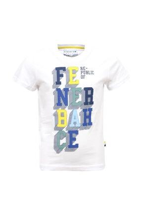 Fenerium Unisex Çocuk Beyaz 3 Boyutlu Fenerbahçe T-shirt