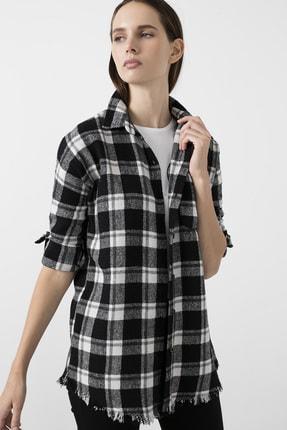 Lela Kadın Siyah Ekose Desenli Cepli Oduncu Gömlek 59120467