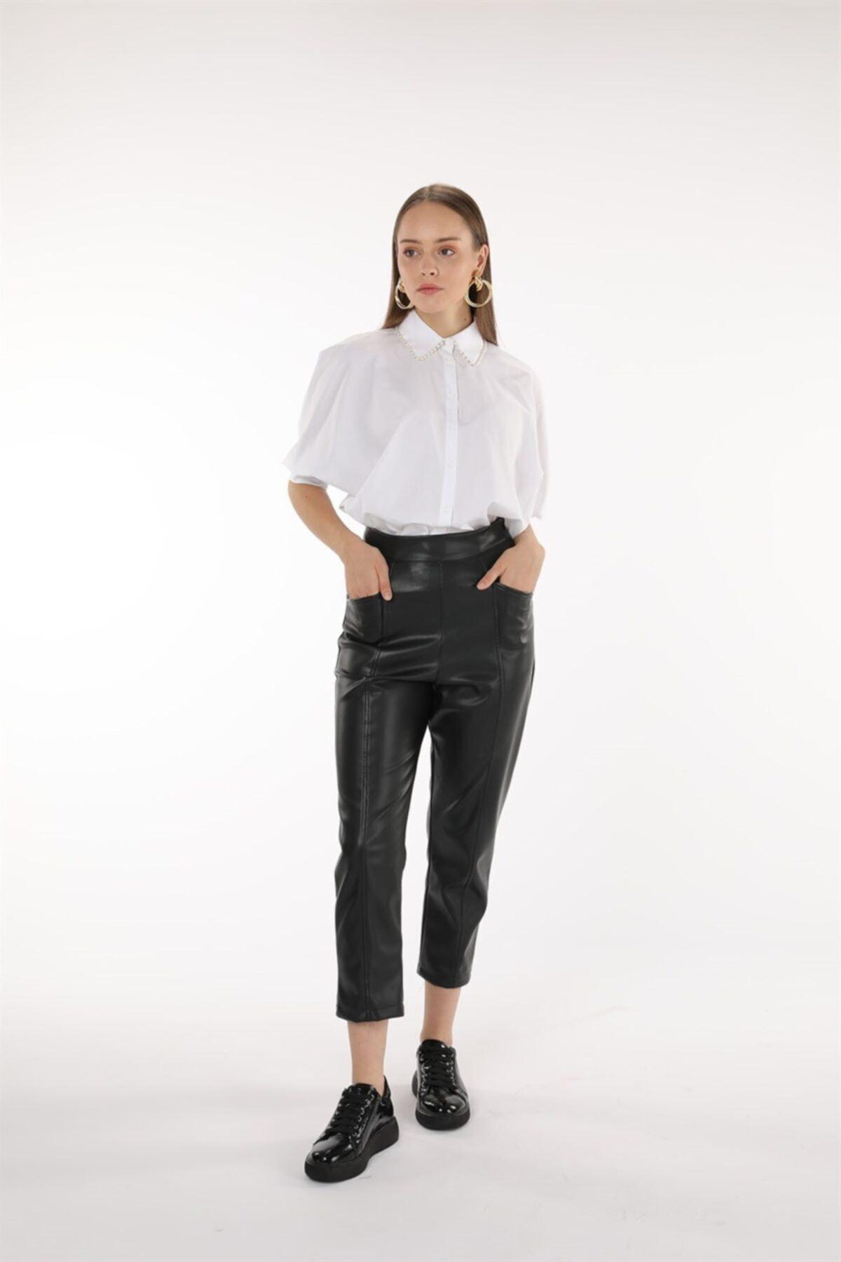 Oblavion Kadın  Siyah Deri Pantolon 1