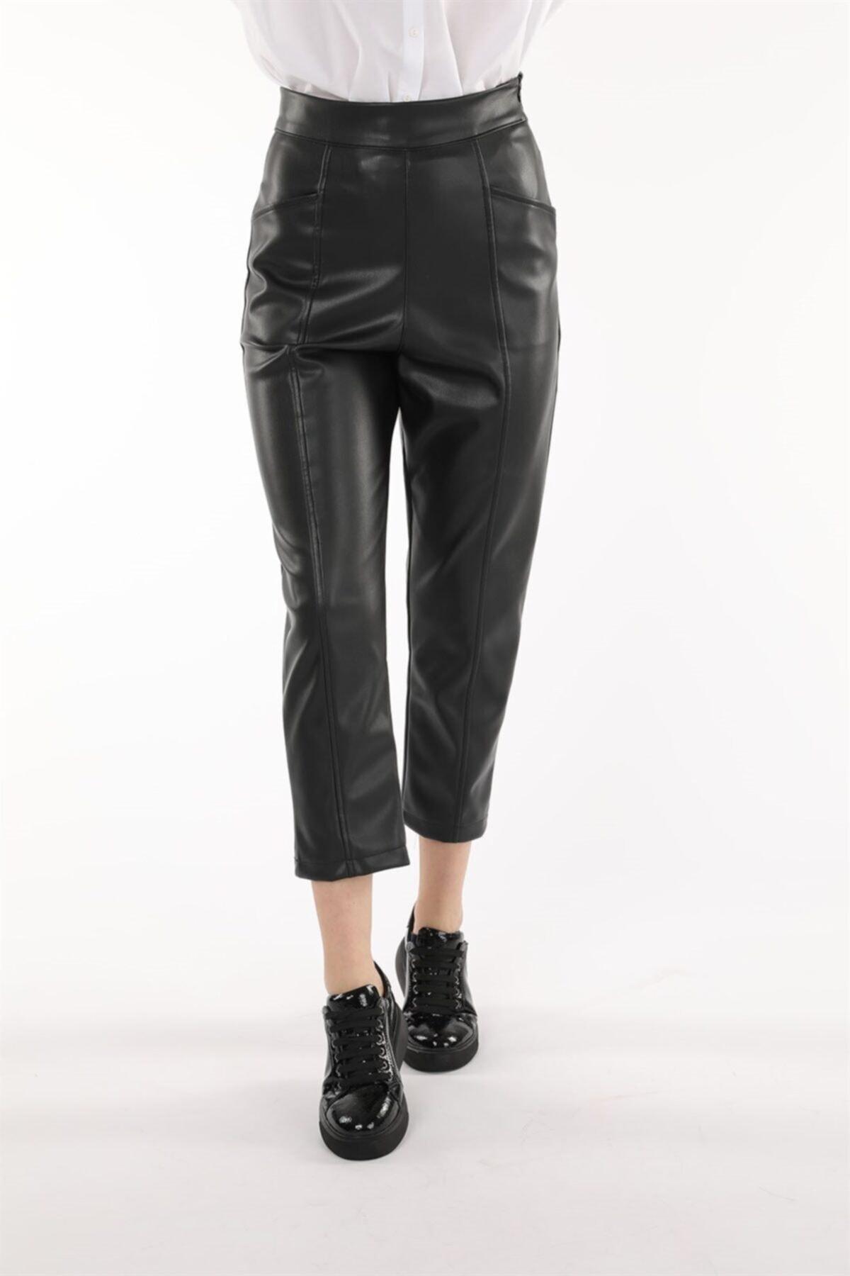 Oblavion Kadın  Siyah Deri Pantolon 2