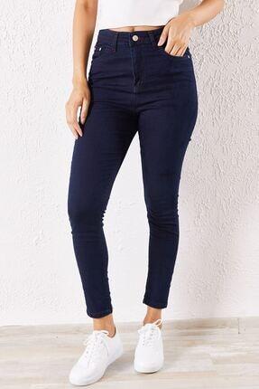 Zafoni Kadın Lacivert Likralı Slim Kot Pantolon