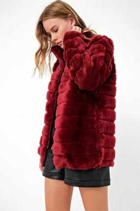 Trend Alaçatı Stili Kadın Vişne Peluş Suni Kürk Ceket ALC-X3037