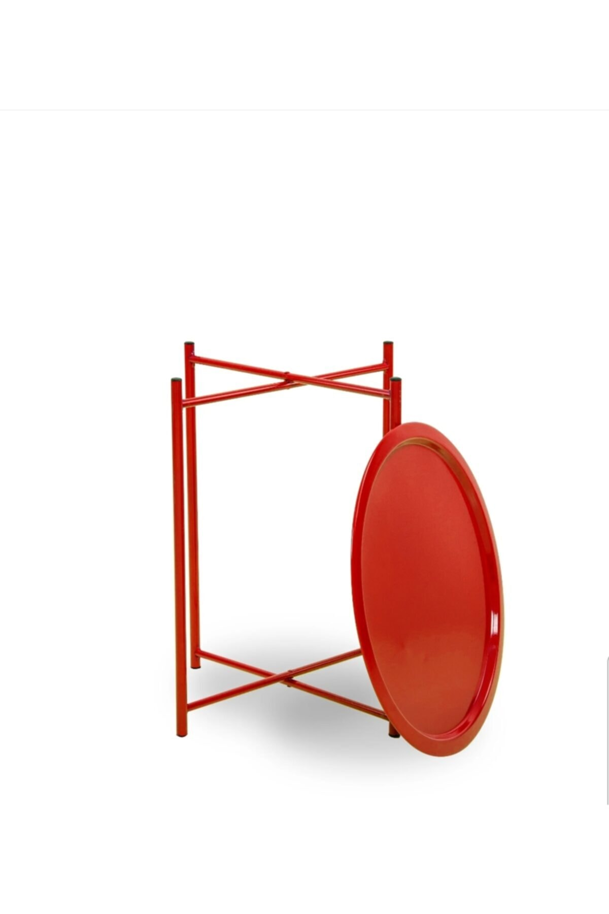 HASTUNÇ Kırmızı İskandinav Katlanır Metal Sehpa 1