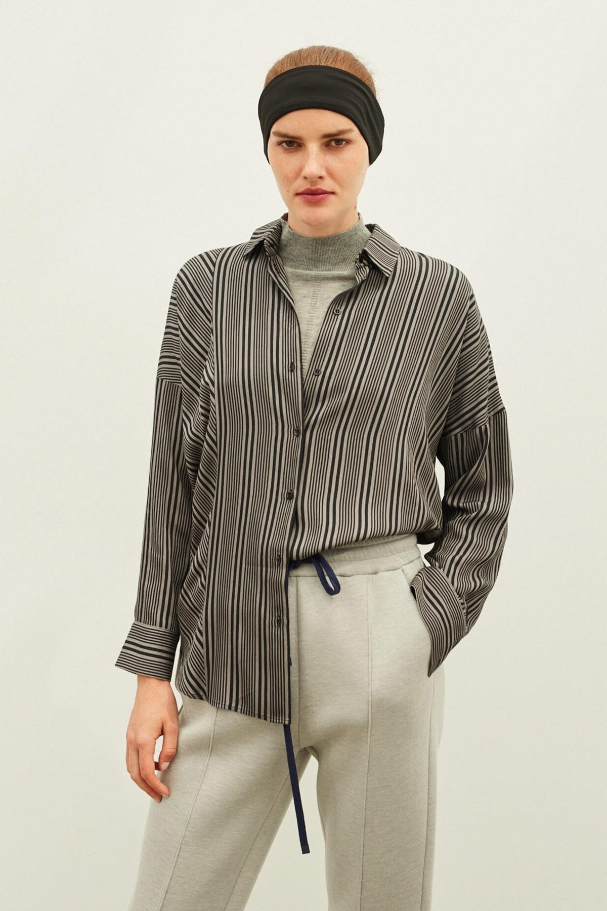 İpekyol Kadın Gri Çizgili Gömlek IW6200025138 2