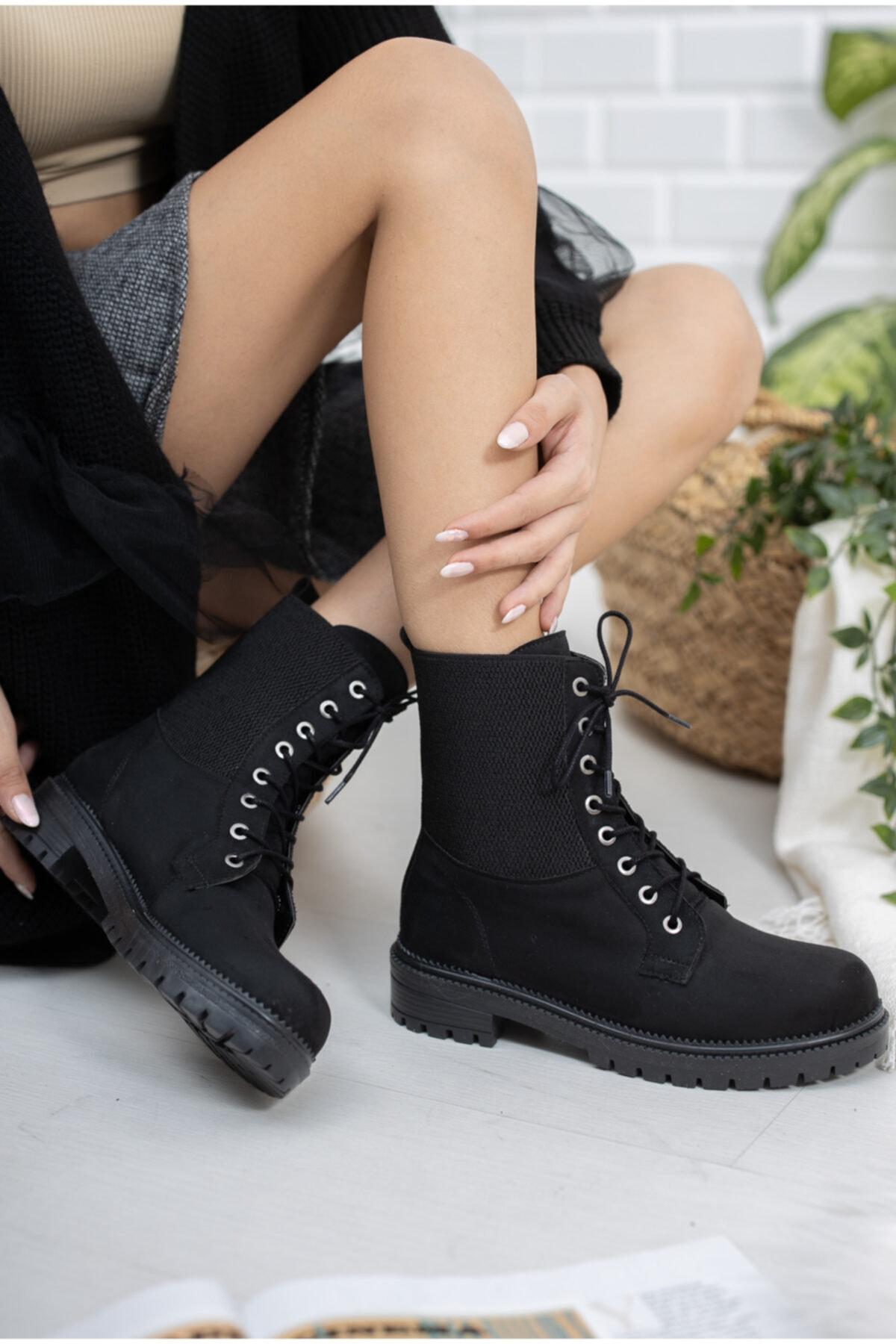 meyra'nın ayakkabıları Siyah Süet Lastikli Postal 1