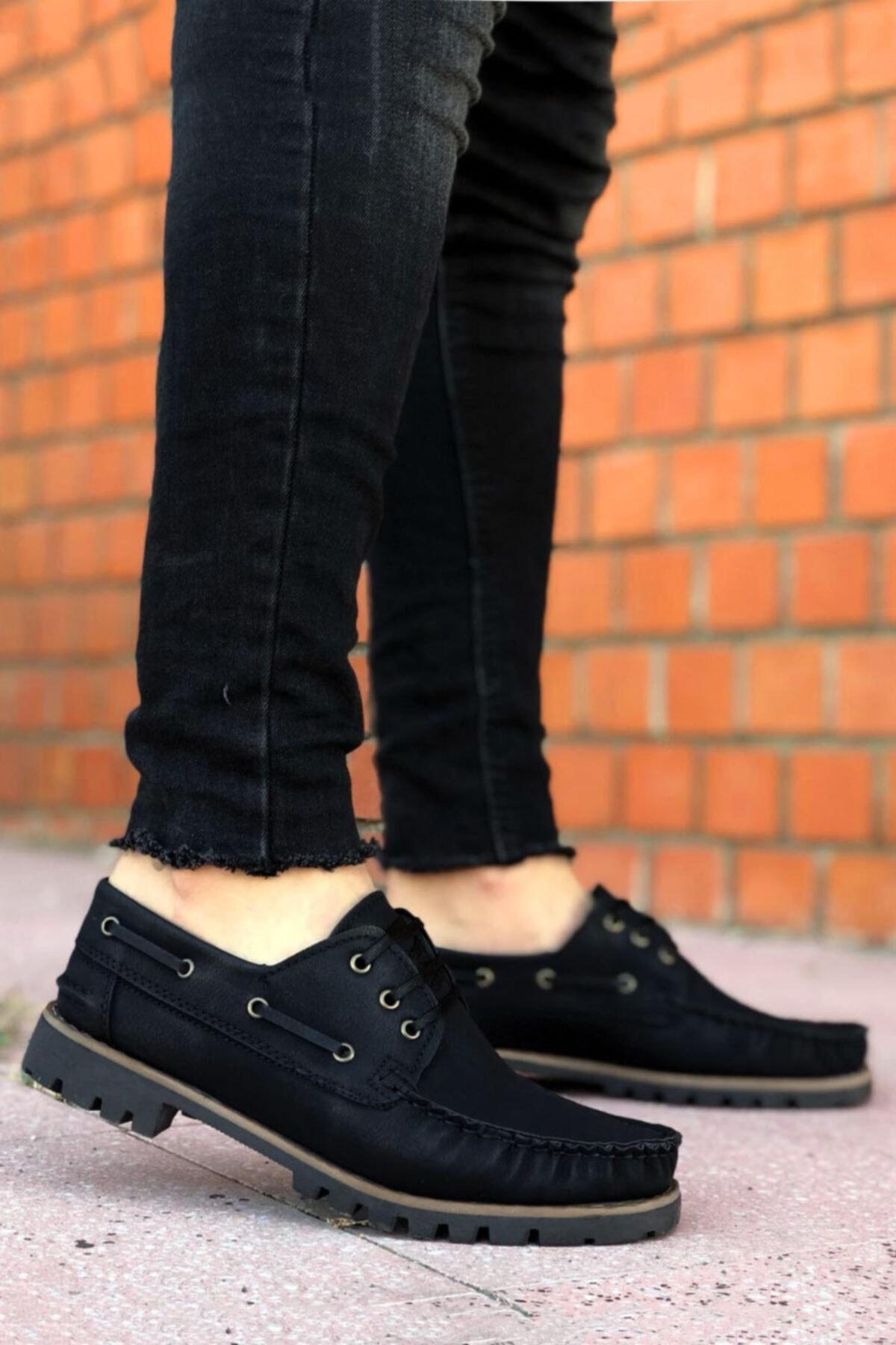 BYSPARTA Erkek Siyah Bağcıklı Klasik Ayakkabı 1