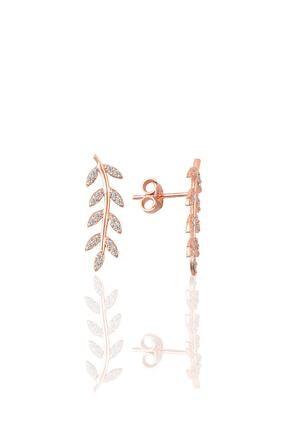 Söğütlü Silver Gümüş Zirkon Taşlı Yaprak Modeli Küpe