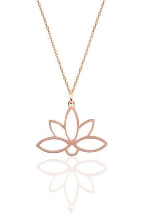 Söğütlü Silver Gümüş Sonsuz Yaşamın Simgesi Lotus Çiçeği Kolye Sgtl10085rose