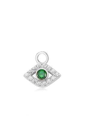 Valori Jewels Gösterişli Nazar Gözü, Swarovski Zirkon Yeşil Ve Beyaz Taşlı, Gümüş Küpe Charmı
