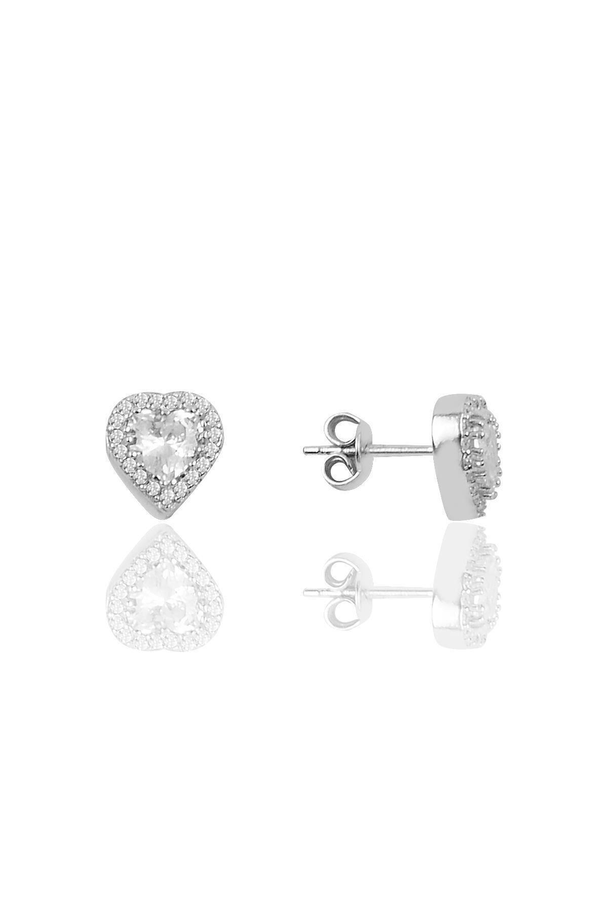 Söğütlü Silver Gümüş Pırlanta Modeli Kalp Küpe 1