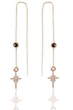 Söğütlü Silver Gümüş Oniks Taşlı Zincirli Küpe Kutup Yıldızı Modeli