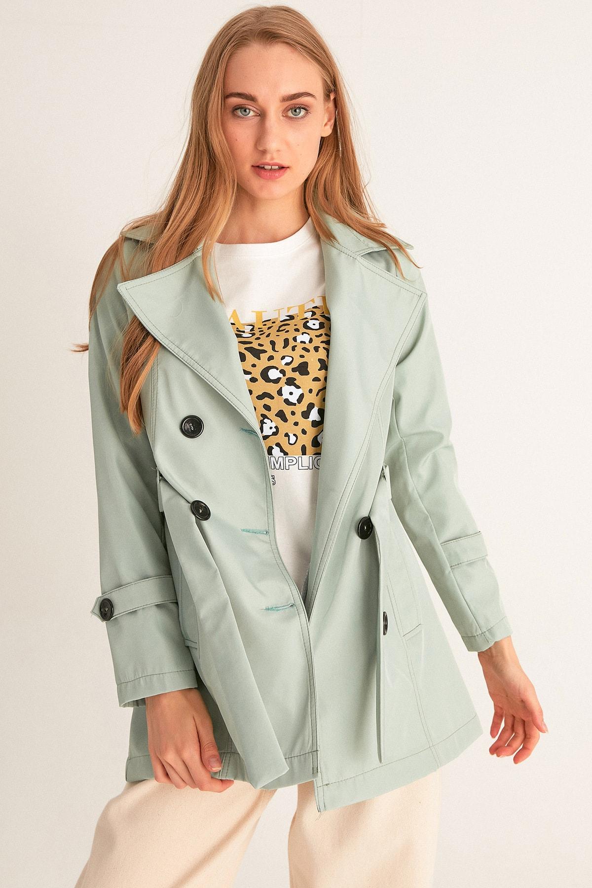 Fulla Moda Kadın Mint Beli Kuşaklı Trençkot 1