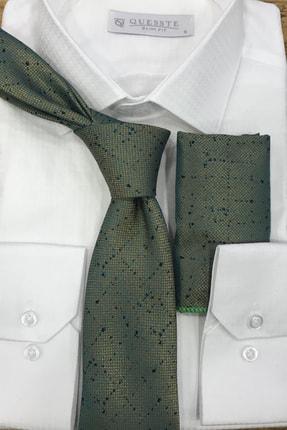 Quesste Accessory Yeşil Armürlü Noktalı Desenli Mendilli Kravat 6 cm