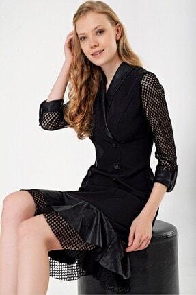 By Saygı Kadın Siyah  Eteği Kolu Tül Detaylı Elbise