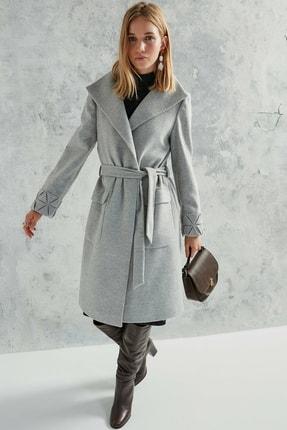 Yargıcı Kadın Gri Melanj Cep Detaylı Palto